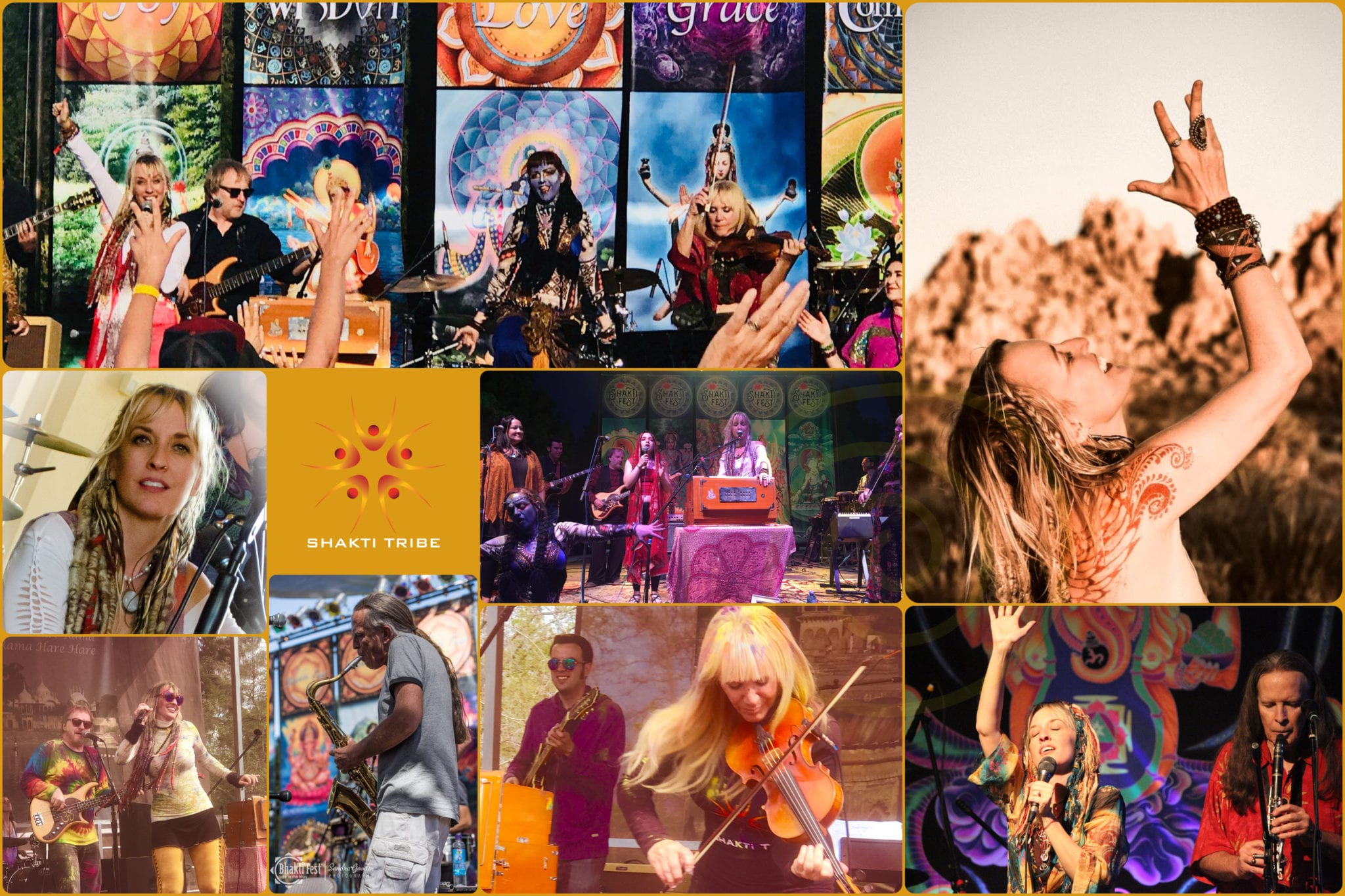 a collage of many photos of live performances by Larisa Stow and Shakti Tribe. New age music